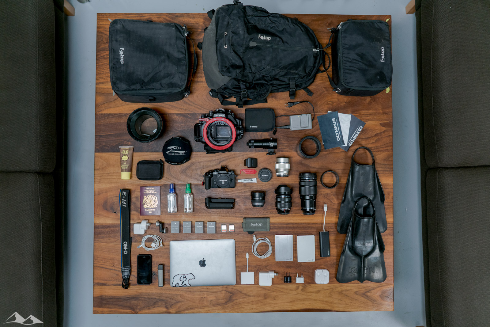 My camera gear laid out flat on the table