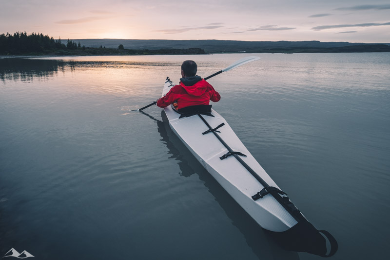 Kayaking Into Sunset in Iceland