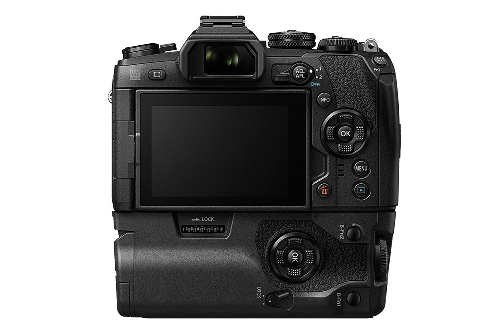 Olympus OM-D E-M1 Mark II and HLD-9 Battery Grip back view
