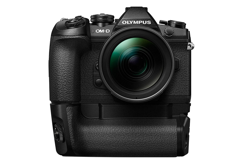 Olympus OM-D E-M1 Mark II and HLD-9 Battery Grip front view