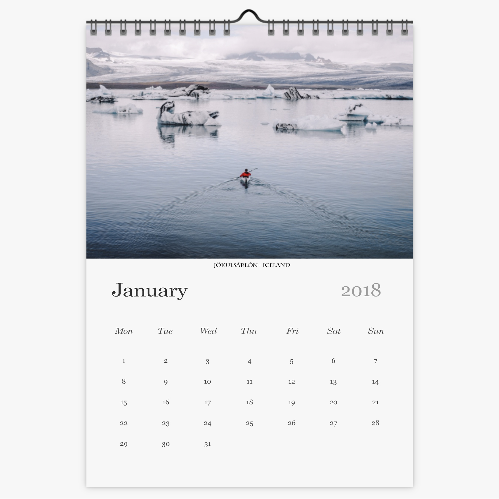 Chris Eyre-Walker Photography 2018 Calendar January