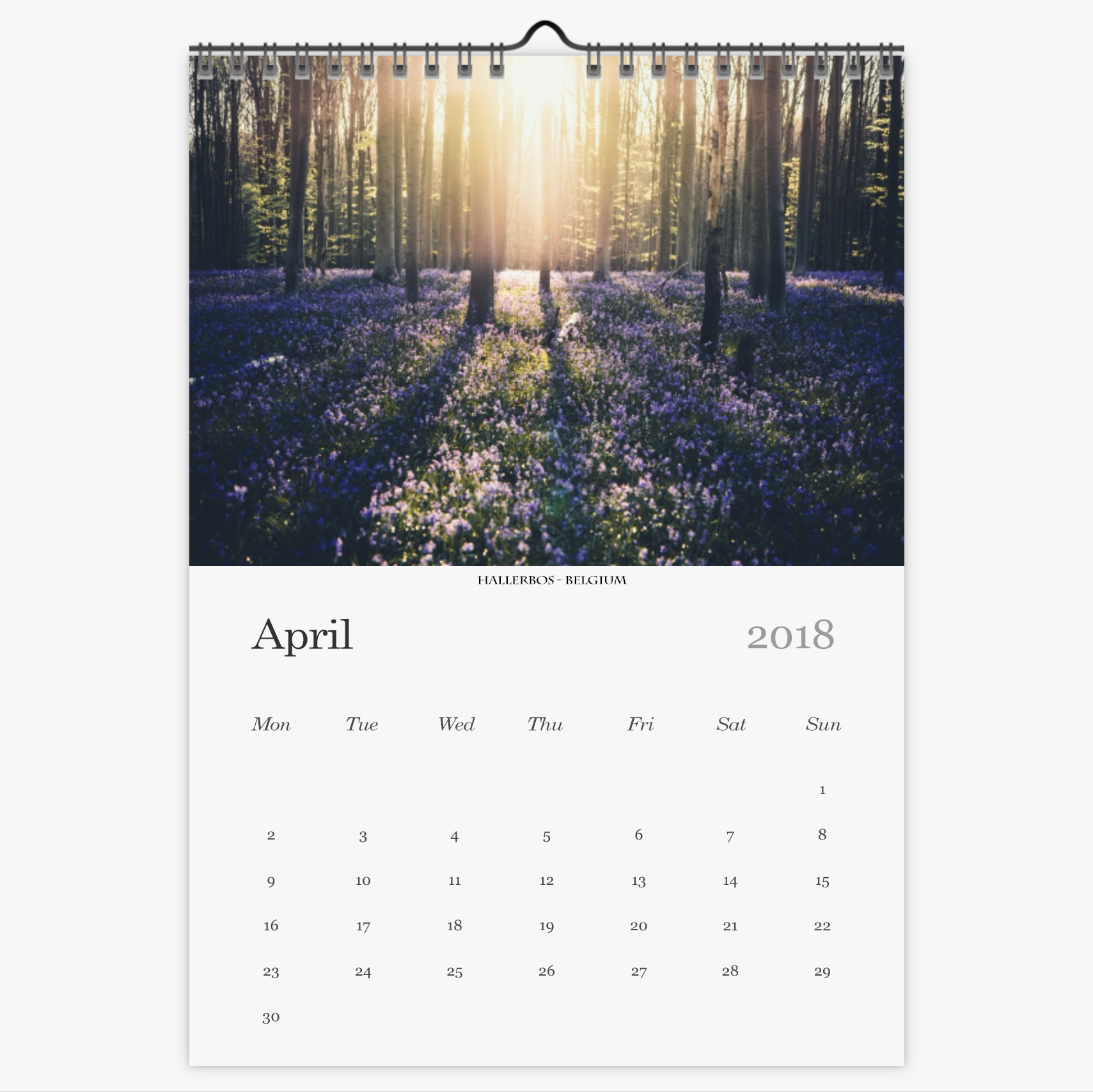 Chris Eyre-Walker Photography 2018 Calendar April