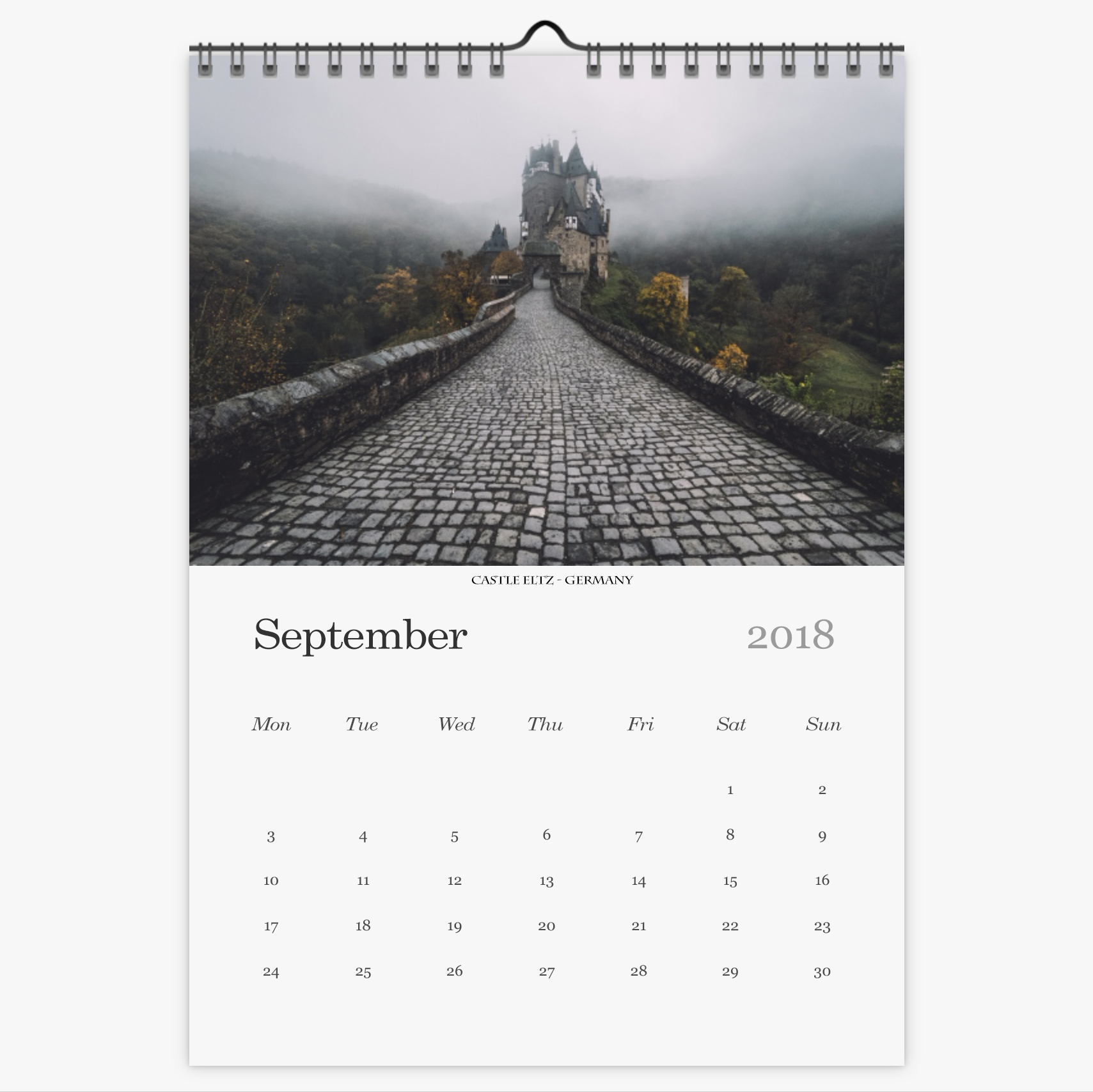 Chris Eyre-Walker Photography 2018 Calendar September