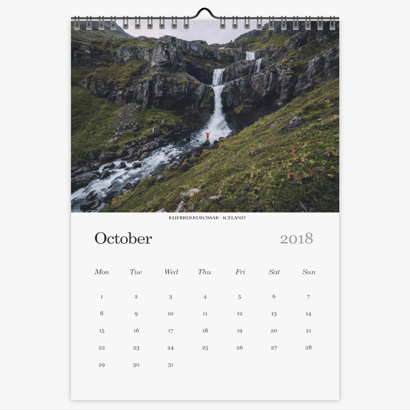 Chris Eyre-Walker Photography 2018 Calendar October