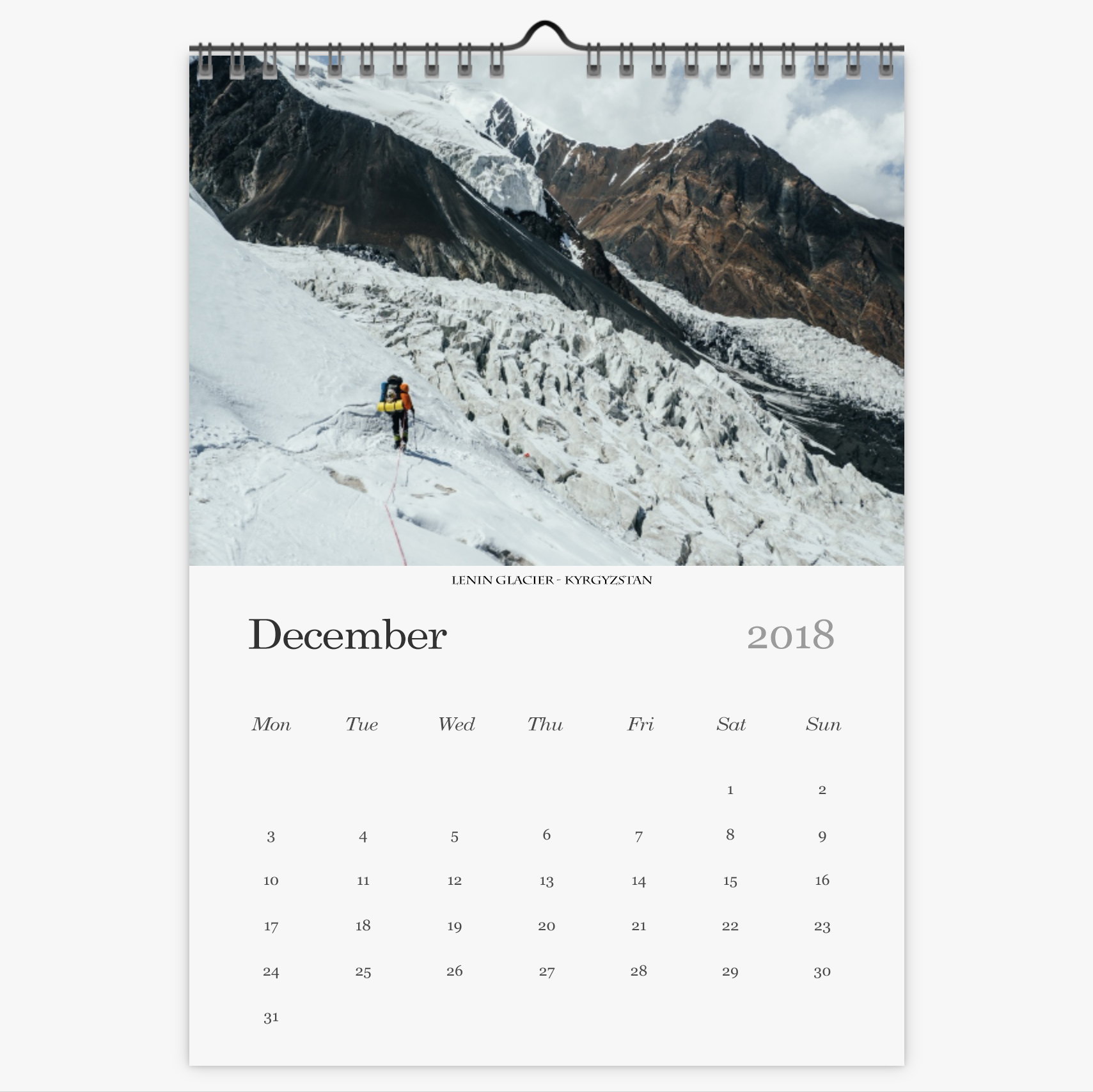 Chris Eyre-Walker Photography 2018 Calendar December