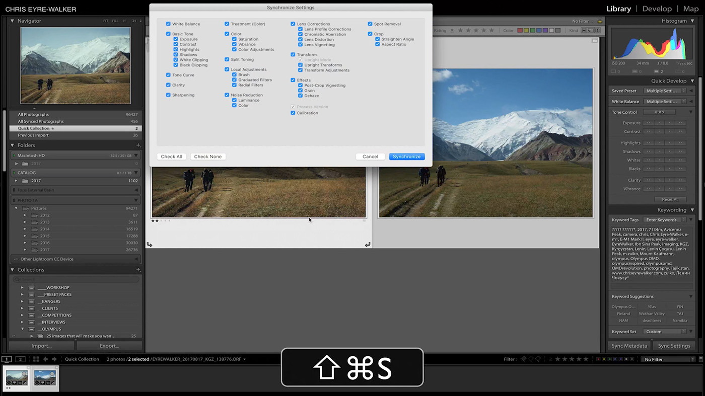 10 Lightroom Hacks You Probably Didn't Know - SHIFT + CMD + S to bring up the Synchronize Settings panels