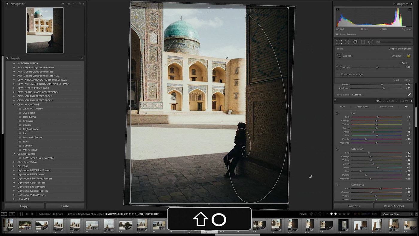 10 Lightroom Hacks You Probably Didn't Know - Press SHIFT + O to toggle different Cropping Guides