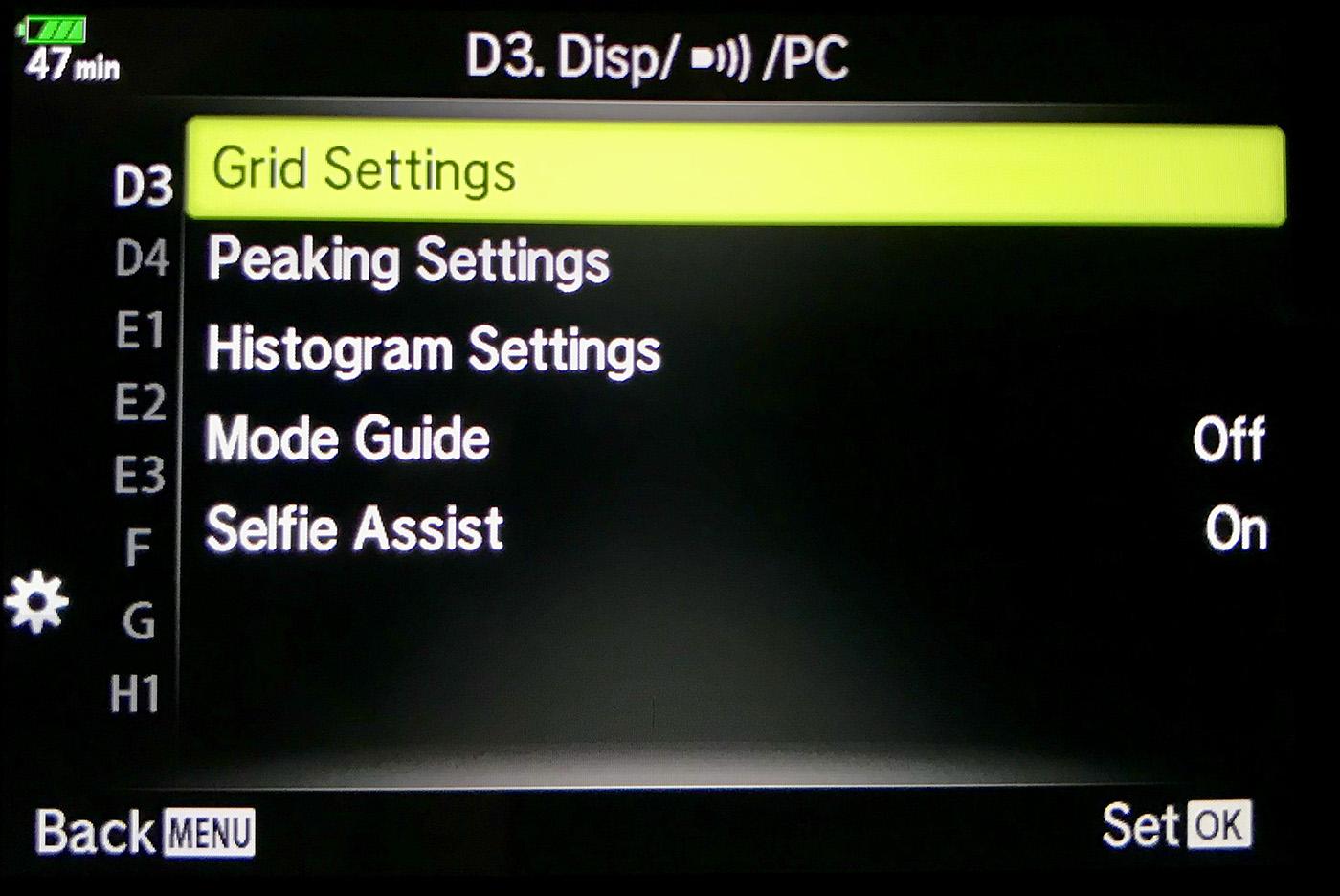 Olympus OM-D E-M1 Mark II Grid Settings Menu